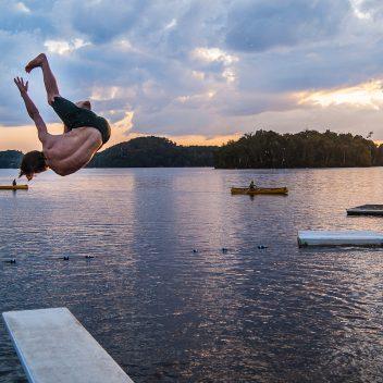 Jumping into the Lake at Camp Tawingo