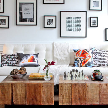 Urban Rustic Living Couch and PIllows