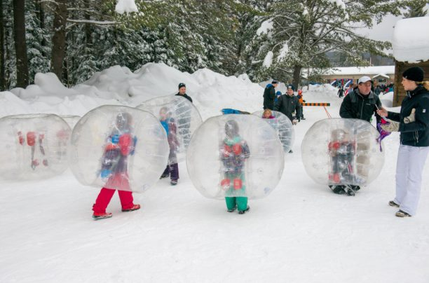 Zorbs at the Dwight Winter Carnival