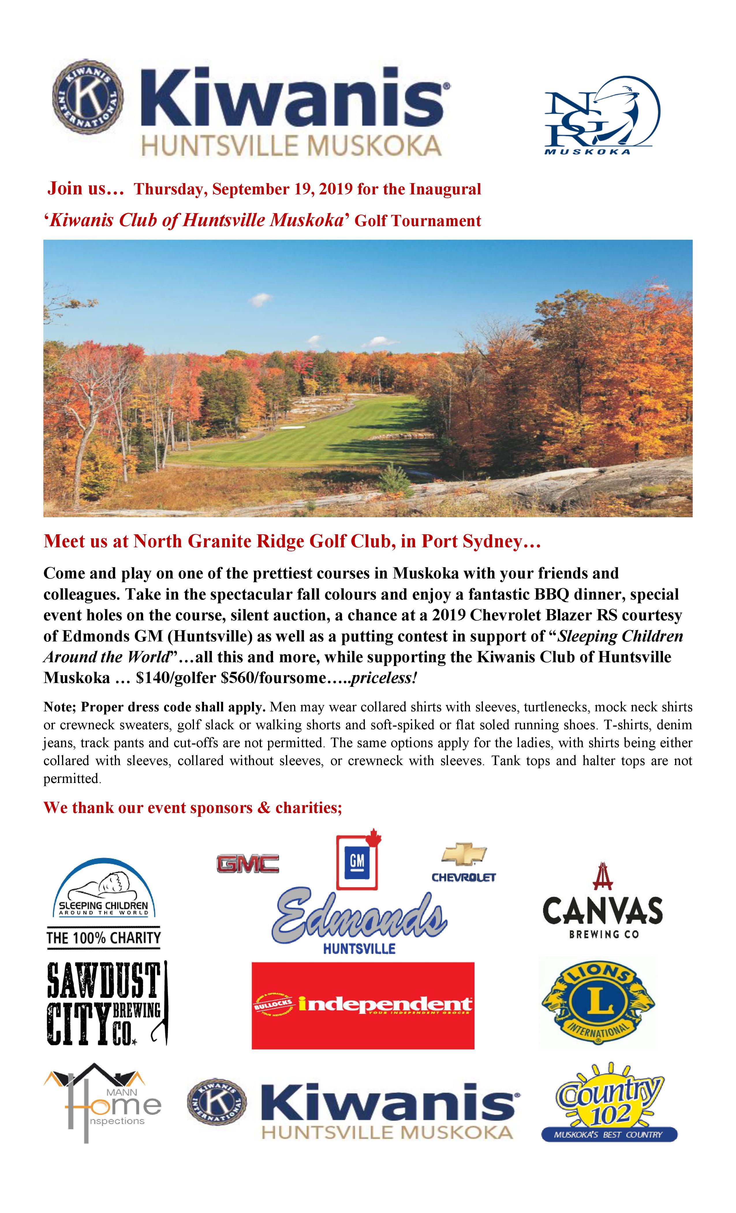 Kiwanis Club of Huntsville Muskoka Golf Tournament Poster