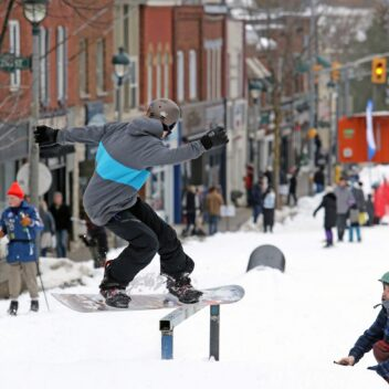 Snowboarding on Main Street