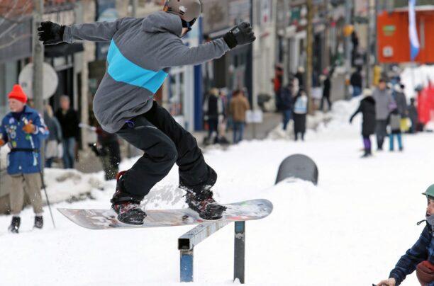 Snowboarding on Main Street